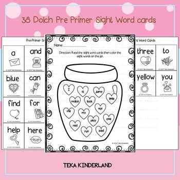 Valentines Day Activities: Sight Word Worksheets 38 Dolch Pre Primer Sight Words