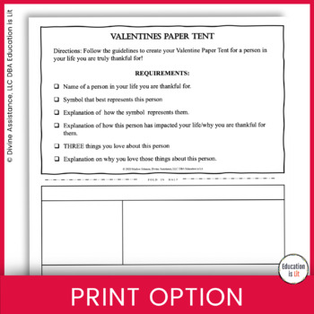 Valentines Day Activities - Valentine Appreciation Paper Tent!