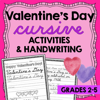 Valentines Day Activities - Valentines Day Writing - D'Nealian Cursive Writing