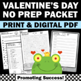 Valentine's Day Worksheets, Early Finishers, Vocabulary Activities