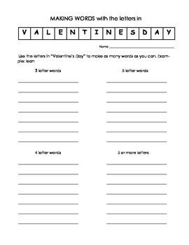 Valentine's Day Activities/Station Work CCSS
