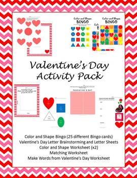 Valentine's Day Activity Book (Shapes, Colors, Bingo, and more!)