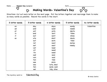 Valentine's Day Activity- Making Words