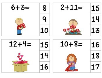 Valentine's Day Add & Clip {Sums to 20}