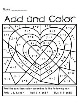 valentine 39 s day add and color activity by the busy class tpt. Black Bedroom Furniture Sets. Home Design Ideas