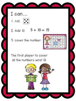 Valentine's Day Adding 10 Math Station