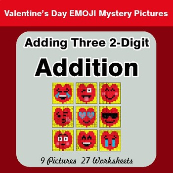 Valentines Day: Adding Three 2-Digit Addition - Color By Number Math Mystery Pictures