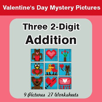 Valentines Day: Adding Three 2-Digit Addition - Color-By-Number Mystery Pictures