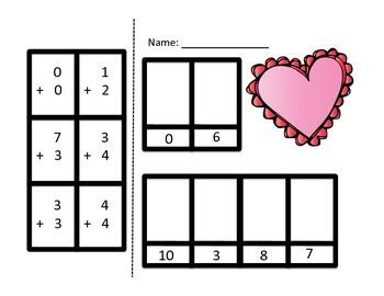 Valentine's Day - Addition (0-20) - Cut, Solve, Paste