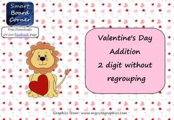 Valentine's Day Addition 2 Digit Without Regrouping Smart