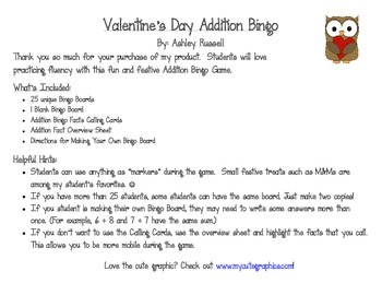 Valentine's Day Addition Bingo