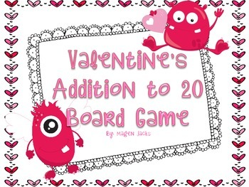Valentine's Day Addition Fact to 20 Board Game