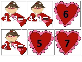 Valentine's Day Addition Help the Super Hero Find The Heart Numbers-10