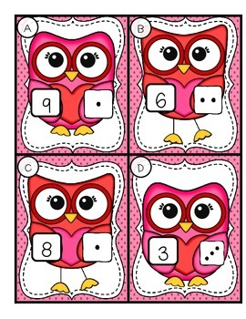 Valentine's Day Addition Owls-- Addition to 10 Center for K-1