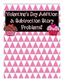 Valentine's Day Addition & Subtraction Story Problem Scoot {CC Alligned}