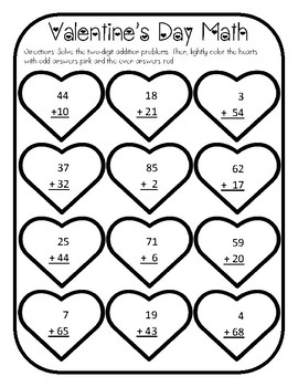 Valentines Day Addition Worksheet Valentines Day 2 Digit Addition Valentines Add