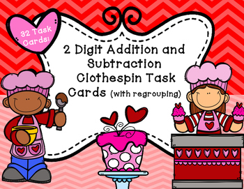 Valentines Day Addition and Subtraction Clothespin Math Center