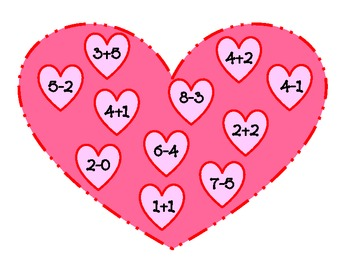 Valentine's Day Addition and Subtraction Game Toss