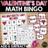 Valentine's Day Bingo, Addition and Subtraction Math Bingo Game