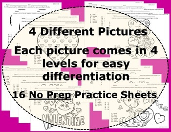 Valentine's Day: Addition and Subtraction Practice Color Sheets