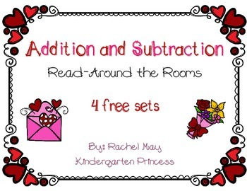Valentine's Day Addition and Subtraction Read Around the Room FREEBIE