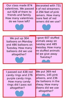 Valentines Day Addition and Subtraction Word Problems