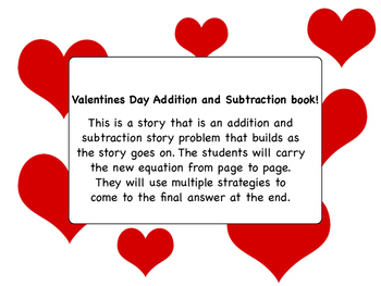 Valentines Day Addition and Subtraction book that builds from page to page.