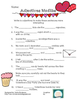 valentine 39 s day adjective madlibs freebie by savvy in second tpt. Black Bedroom Furniture Sets. Home Design Ideas