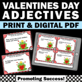 Valentine's Day Activities, Adjectives Task Cards, 1st 2nd Grade Literacy Center
