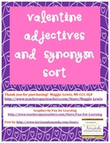 Valentine's Day Adjectives and Synonym Sort