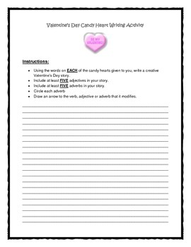 Valentine's Day Adverb & Adjective Writing Activity (Using Candy Hearts!!)