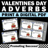 1st 2nd Grade Valentine's Day Grammar Activities & Games ADVERBS Task Cards