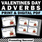 1st 2nd Grade Valentine's Day Grammar Activities & Games ADVERBS Task Cards