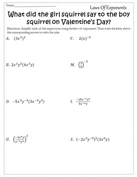 Valentines Day Algebra Activity Exponent Rules {Algebra Valentines Day Activity}
