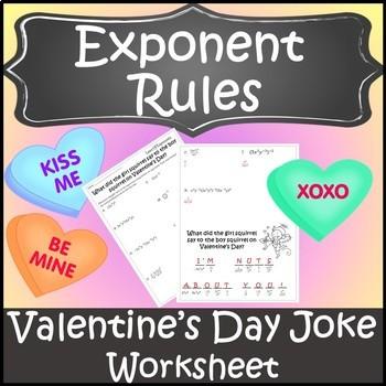 Valentines Day Algebra Activity Exponent Rules {Algebra Valentines Day Activity}
