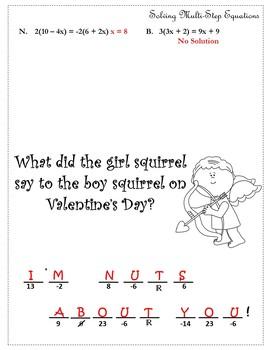 Valentines Day Algebra Activity Solve Equations{Algebra Valentines Day Activity}