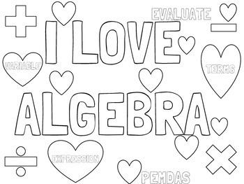 Valentine's Day Algebra Coloring Sheet