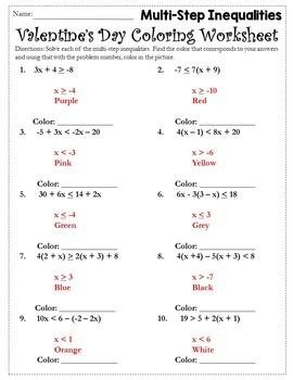 Valentines Day Algebra Coloring