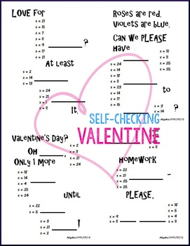 Valentine's Day Algebra One-Step Equations (Whole Numbers Only)