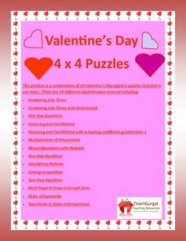 Valentine's Day Algebra Puzzles Bundle