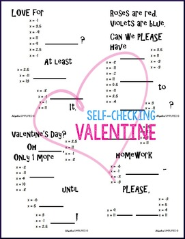 Valentine's Day Algebra Two-Step Equations