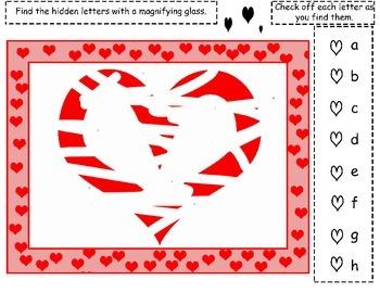 "Free Valentine's Day Alphabet ""I Spy"""