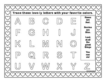 Valentines Day Alphabet Tracing Activity