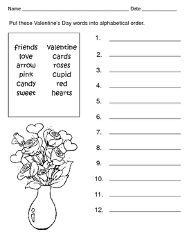 valentine 39 s day alphabetical order spelling words worksheet by kelly connors. Black Bedroom Furniture Sets. Home Design Ideas