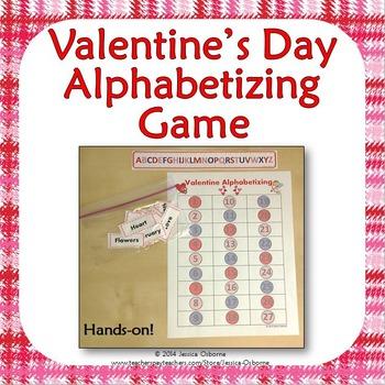 Valentine's Day Alphabetizing Game