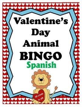 Valentine's Day Theme - Animal BINGO - Spanish Edition
