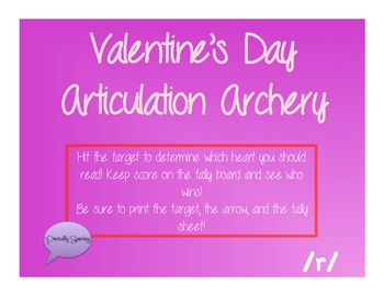 Valentine's Day Archery Articulation for /r/ (all positions)