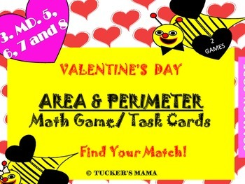Valentine's Day Area and Perimeter Task Cards (2 Matching Games)