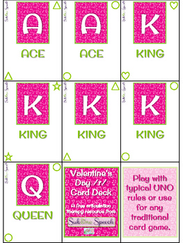 Valentine's Day Articulation Card Deck