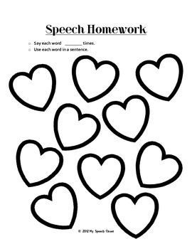 Valentine's Day Articulation Homework